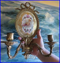 1 Sevres French Dore bronze sconce Porcelain Plaque KPM antique Vintage brass