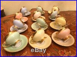 12 Cup 12 Saucer Set Vintage KPM Danish Copenhagen Porcelain Maleri Coffee Tea