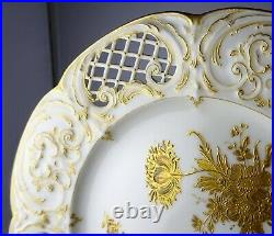 12 KPM Berlin German Gold Encrusted Reticulated Antique Porcelain Cabinet Plates