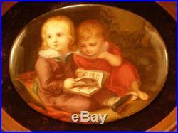 1800's Walnut Frame HAND PAINTED Porcelain KPM Portrait Plaque Children Painting