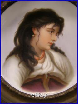 19 c KPM Wagner Porcelain Portrait Plaque H-PAINTED Charger Bronze Cherub Girl
