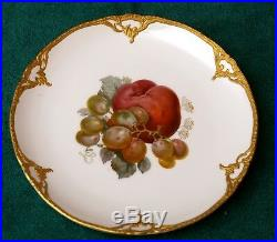 1900 Kpm German Rare Antique Hand Painted Raised Gold Trim Fruit Design Plate