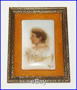 19C German KPM Framed Porcelain Plaque Woman in Dress by Josef Ahne (Auj)