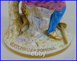 19th C Antique German KPM Porcelain Figurine Vertumnus Pomona Masquerade Mask