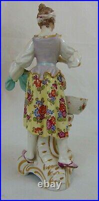 19th C Antique German KPM Porcelain Figurine Woman Salt Cellar Museum Tag