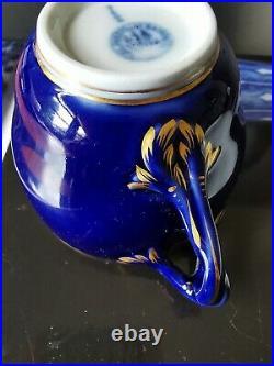 19th C Antique KPM Berlin hand painting Cobalt & Gold Porcelain Teacup & Saucer