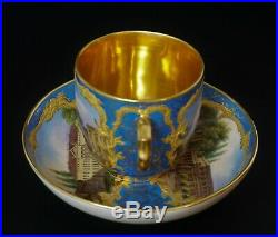 19th C. KPM Porcelain Topographical Cup and Saucer Blue Gold Interior