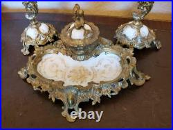 19th C. Louis XVI Gilt-Bronze Royal Porcelain KPM Desk Set inkwell candlestick