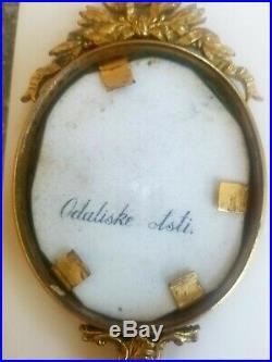 19th C. Miniature KPM German Porcelain Plaque in Brass Hand Mirror