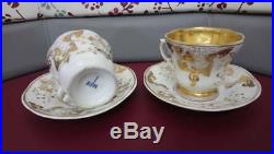 19th Century KPM Germany Porcelain Large Cup and Saucer decorated gold gilt 4p