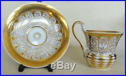 19th c. Antique KPM Berlin Porcelain Tea Cup & Saucer Biedermeier