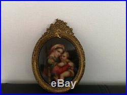19th century Antique Hand Painted KPM Porcelain Plaque Madonna and Child