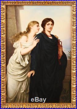 19th century Berlin K. P. M Porcelain Plaque depicting 2 ladies