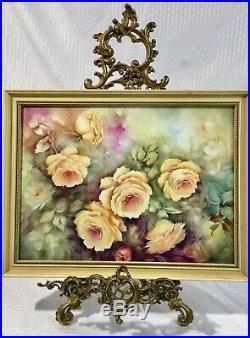 19thC Antique KPM Style Porcelain Hand Painted Plaque Roses 16X12 V. Atchison