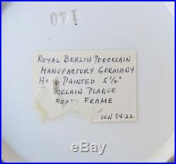 19thC KPM Royal Berlin Porcelain Portrait Plaque Woman Bronze Frame Antique