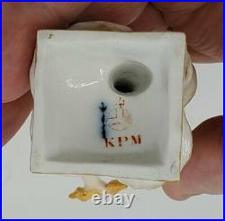 19thc KPM BERLIN PORCELAIN FIGURINE NAKED BOY DEITY ZEUS FLAME & SCEPTER 4-1/2