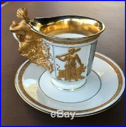 2 KPM Porcelain Cups/Saucers withportraits and monograms, gold hand painted detail
