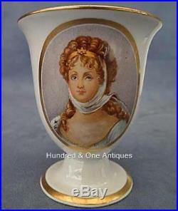 2 Napoleonic KPM Porcelain Cups Portrait Friedrich Wilhelm III & Queen Louise