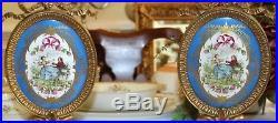2 SEVRES French Dore BRONZE SCONCES Porcelain Plaque KPM Antique BLUE CAMEO