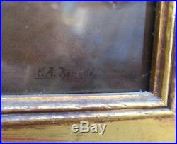 23 Antique Porcelain KPM Berlin plaque giltwood frame Bathsheba Nude bathing