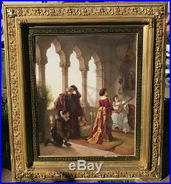 23x18.5 Antique Porcelain KPM Berlin plaque giltwood frame Othello Shakespeare