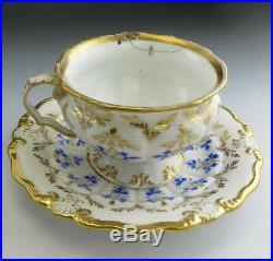 24pc Antique c1845 KPM German Porcelain China Blue Gold Tea Cups & Saucers