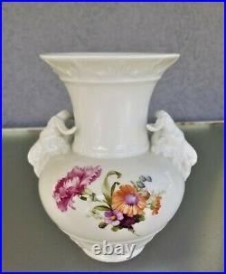 6.75 KPM Ram Head Vase Hand Painted Flowers Porcelain Signed Antique