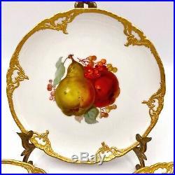 6 Berlin KPM Porcelain Fruit Plates Raised Gilt, Fruit Theme, Antique 7.5