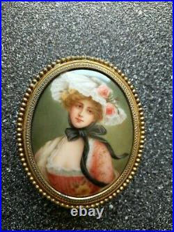 A Wonderful Petite Jewelry Box With KPM style Porcelain Plaque Signed Wagner