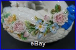 AIA-13 ANTIQUE KPM PORCELAIN CHERUB SWAN BOAT encrusted flowers germany