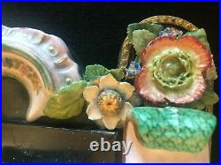 ANTIQUE 17th Century PORCELAIN SHELFSAFE withCherubs & Applied Flowers KPM PLAQUE