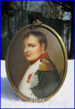 ANTIQUE 19thC GERMAN KPM PAINTED PORCELAIN PLAQUE NAPOLEON I