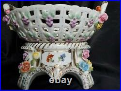 ANTIQUE DRESDEN PORCELAIN KPM RETICULATED BOWL WithBASE HAND PAINTED FLOWERS 11