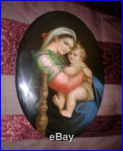 ANTIQUE HUTSCHENREUTHER Large Oval 7×5 Porcelain Plaque Hand Painted not KPM