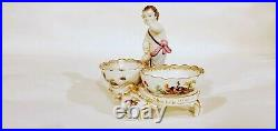 ANTIQUE KPM BERLIN PORCELAIN DOUBLE SALT ROOSTERS BIRDS BUGS with PUTTI FIGURINE