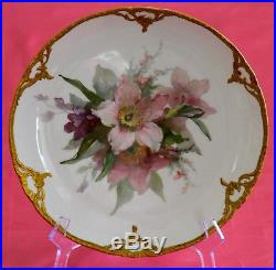 ANTIQUE KPM OLD MARK RED ORB HAND PAINTED With ENAMEL FLORAL CABINET PLATE