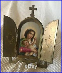 ANTIQUE Madonna Mother & Child kpm quality porcelain hand painted with Brass Frame