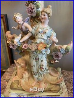 ANTIQUE Meissen KPM PORCELAIN YOUNG GIRL Flowers Winged Putti Centerpiece