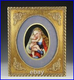 An Antique Virgin Mary Baby Jesus Painting on Framed KPM Style Porcelain Plaque