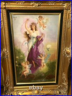 Angel And Cherubs Porcelain Wall Plaque Hand Painted Kpm Style