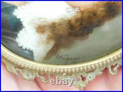 Antique 1800's hand painted miniature portrait porcelain plaque Wagner KPM