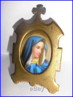 Antique 1800`s porcelain KPM style miniature Blue Madonna portrait Gothic frame