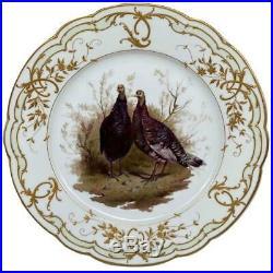 Antique 1830s KPM Königliche German Porcelain Pheasant Painted Rococo Gilt Plate