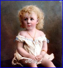 Antique 1882 German Signed'Lausberg' KPM Style Enamel Painting on Porcelain