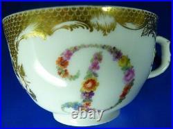 Antique 18thC KPM Berlin Porcelain Letter D Cup & Saucer Porzellan Tasse German