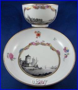 Antique 18thC KPM Berlin Porcelain Scenic Cup & Saucer Porzellan Tasse Scene