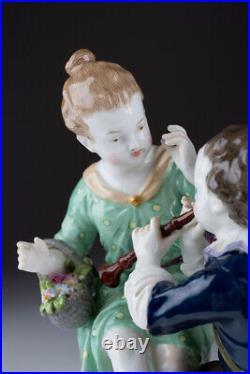 Antique 1913 Original KPM Germany Boy and girl Porcelain Figurine Marked 16 cm