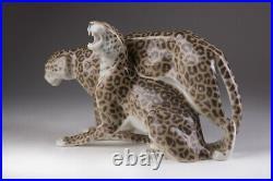 Antique 1913 Original Rare KPM Porcelain Figurine Two Leopards Marked 27.5 cm