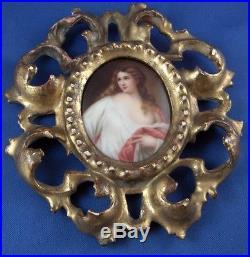 Antique 19tC German Porcelain Lady Portrait Plaque Porzellan Frauen Bild Germany