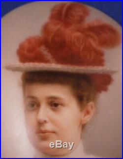 Antique 19tC Hutschenreuther Jugendstil Porcelain Portrait Plaque Porzellan Bild
